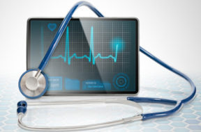 Medical tablet on futuristic background